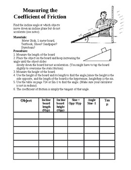 Coefficient Of Friction Worksheets & Teaching Resources   TpT