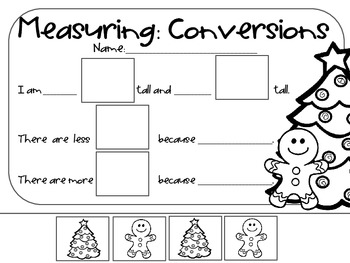 FREEBIE!! Measuring: Conversions with Gingerbread Boys and Christmas Trees