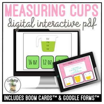 Measuring Cups Digital Interactive Task Card Activities Cooking