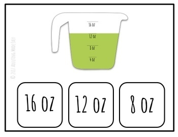 Measuring Cups Task Clip Cards - Life Skills Kitchen Cooking special education