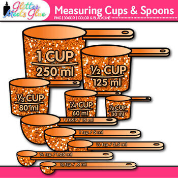 Measuring Cups and Spoons Clip Art {Measurement Tools for Learning Fractions}