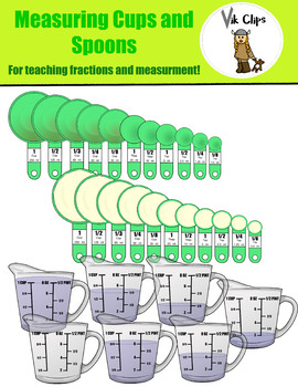 Measuring Cups and Spoons Clip art {Fractions and Measurement Set}