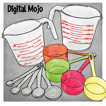 measuring cups and spoons clipart by digital mojo tpt rh teacherspayteachers com measuring cup clipart silloutte Cartoon Measuring Cup