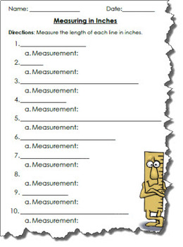Measuring Inches Activity Worksheet Assessment