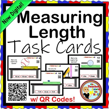 Measuring Length Task Cards (24 cards w/ QR Codes)