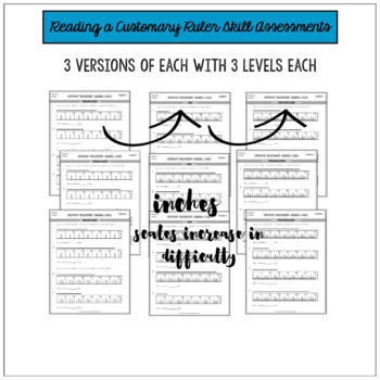Measuring Length by Inches Differentiated Worksheets Assessments or Practice