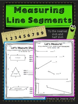 Measuring Line Segments {to the nearest inch and half inch}