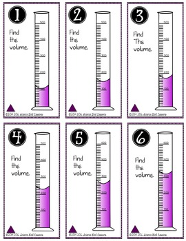 (Graduated Cylinders) Measuring Liquid Volume - Task Cards Increasing by 100 SET