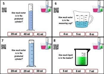 Measuring Liquids Task Cards - 24 Cards w/ QR Codes