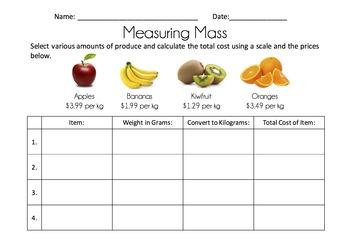 Measuring Mass (Editable) - NCEA 1.5 Measurement