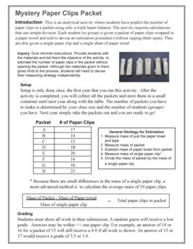 Measuring Mass: Mystery Paperclips
