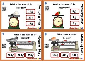 Measuring Mass Task Cards (24 cards w/ QR Codes)