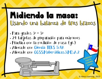 Measuring Mass Using a Triple-Beam Balance - Spanish Task Cards
