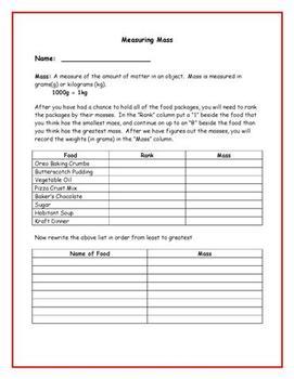 Measuring Mass Worksheet - Metric Units