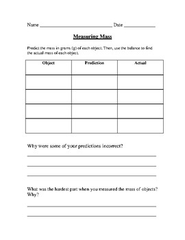 Measuring Mass and Temperature Lab Recording Sheet