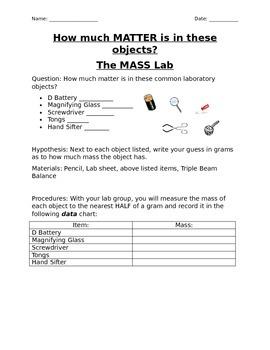 Measuring Mass lab