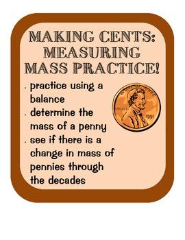 Measuring Mass of Pennies Practice, Scientific Method, analyzing data