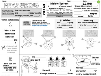 Measuring Matter Cornell Doodle Notes LENGTH MASS WEIGHT VOLUME with Powerpoint