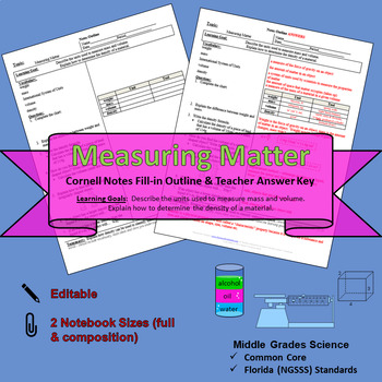 Measuring Matter Cornell Notes #31