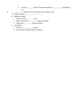 Measuring Matter Outline Notes, Fill in the blank