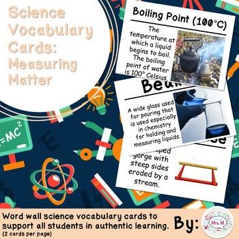 Measuring Matter Science Vocabulary Cards (FOSS Measuring Matter Module) Large