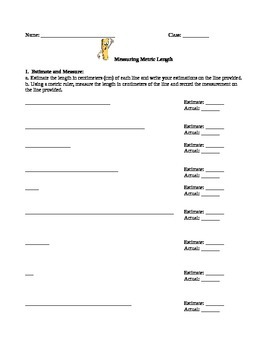 Measuring Metric Length Worksheet/Activity