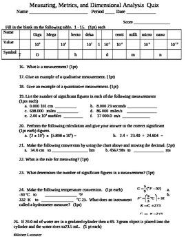 Measuring, Metrics, and Dimensional Analysis Quiz