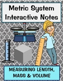 Measuring Metrics review Length, Mass, Volume notes including station practice
