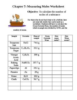 Measuring Moles Worksheet/Lab