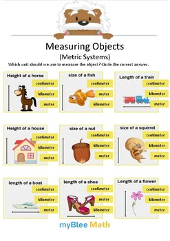 Measuring Objects Metric System 3 - Circle the correct answer - Gr 4