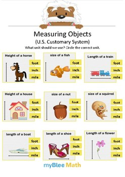 Measuring Objects US 3 - Circle the correct unit - Gr 4