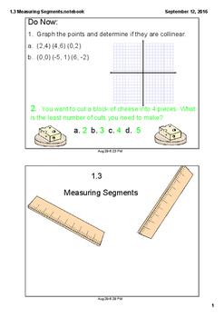 Measuring Segments, Midpoint, and Segment Addition Postulate Mini Lesson