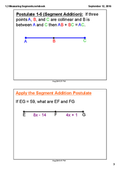 Measuring Segments, Midpoint, and Segment Addition Postulate Mini Lesson