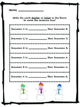 Measuring Snowmen Short & Tall