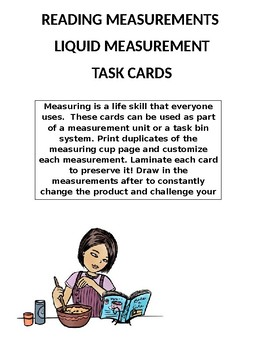 Measuring Task Cards Liquid Measuring Cup By Mrs Cs Classroom