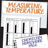 Measuring Temperature Chemistry Homework Worksheet