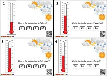 Measuring Temperature Task Cards - 24 Cards w/ QR Codes!