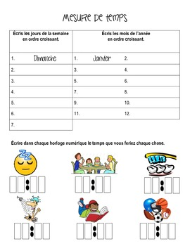 Français - Measuring Time and Space - With Answer Key!
