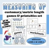 Measuring Up – customary & metric length game and resources – winter theme