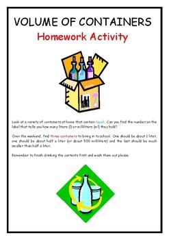 Measuring Volume - Homework Activity and Worksheet