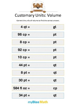 Measuring Volume & Mass: Customary Units – Volume 4