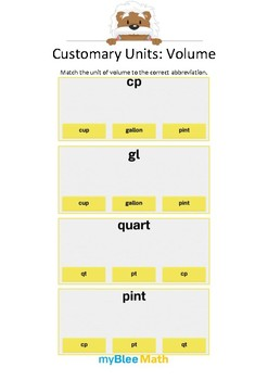 Measuring Volume & Mass: Customary Units – Volume – 4th and 5th Grades
