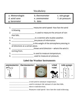 Measuring Weather Assessment  4th Grade Science