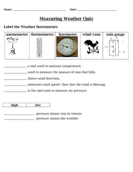measuring weather quiz 4th grade science by cammie 39 s corner tpt. Black Bedroom Furniture Sets. Home Design Ideas