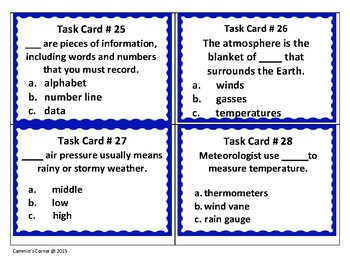 Measuring Weather Task Cards