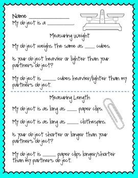 Measuring Weight & Length Partner Activity