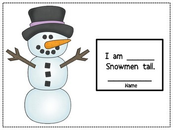 Measuring Winter/ Build a Snowman Booklet / Craft / Measure the Snowman/ Math