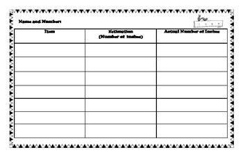 Measuring Worksheet Aligned with 2nd grade SOLs