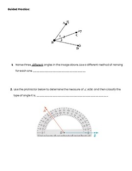 Measuring and Classifying Angles Guided Notes