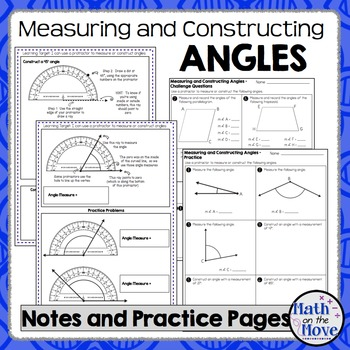 Measuring and Constructing Angles - Notes and Practice Worksheet